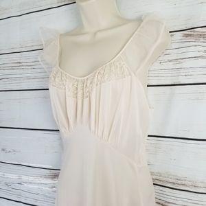 Vintage 60s Nylon Pink Nightgown Lingerie Slip